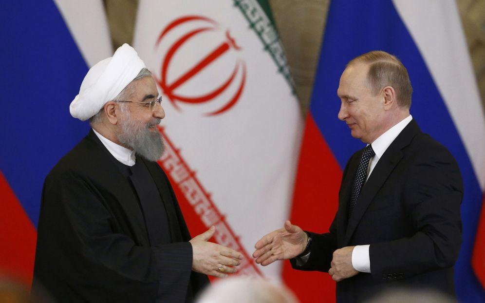 Foto: El presidente Putin y su homólogo iraní durante una rueda de prensa conjunta en Moscú. (Reuters)