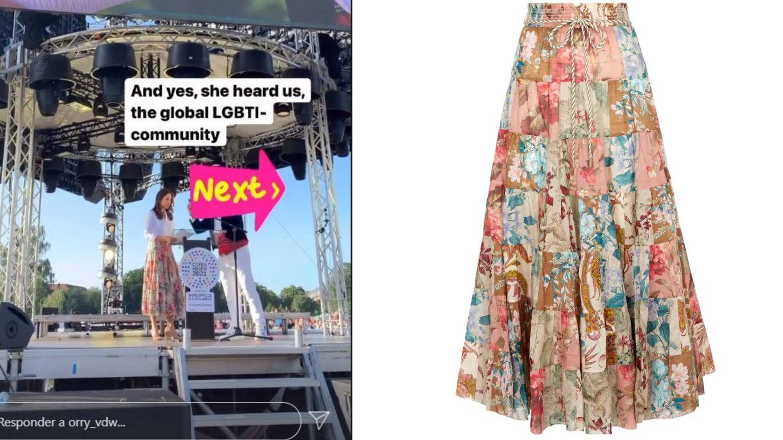 Mary en su discurso y detalle de la falda. (RR.SS.)