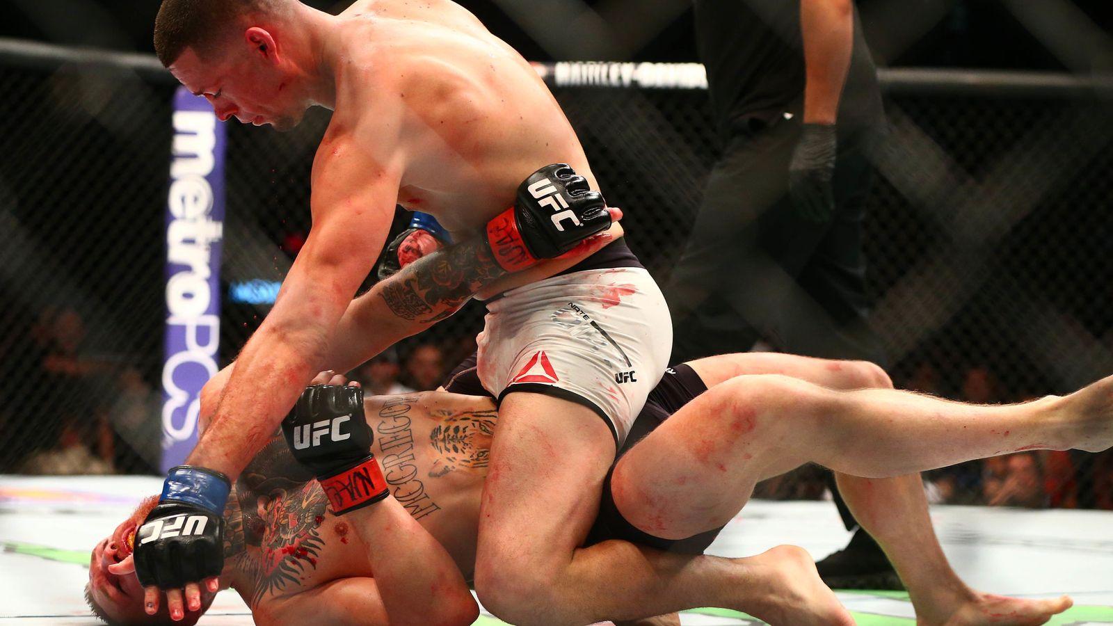 Foto: Nate Diaz, en el momento de derrotar a Conor McGregor (Reuters).