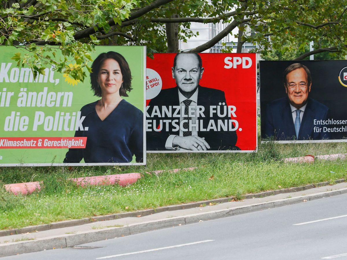 Foto: Carteles electorales de los principales candidatos alemanes. (EFE)