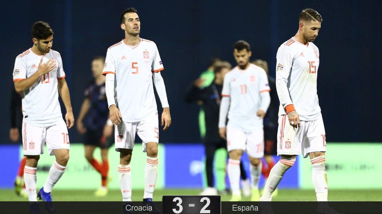 Foto: Los jugadores de la Selección, cabizbajos tras la derrota de España en Croacia. (Reuters)