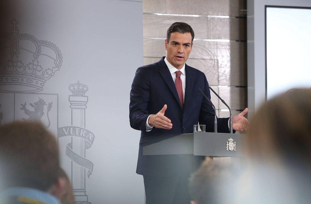 Foto: Pedro Sánchez, durante su rueda de prensa en La Moncloa este 7 de noviembre. (Pool Moncloa)