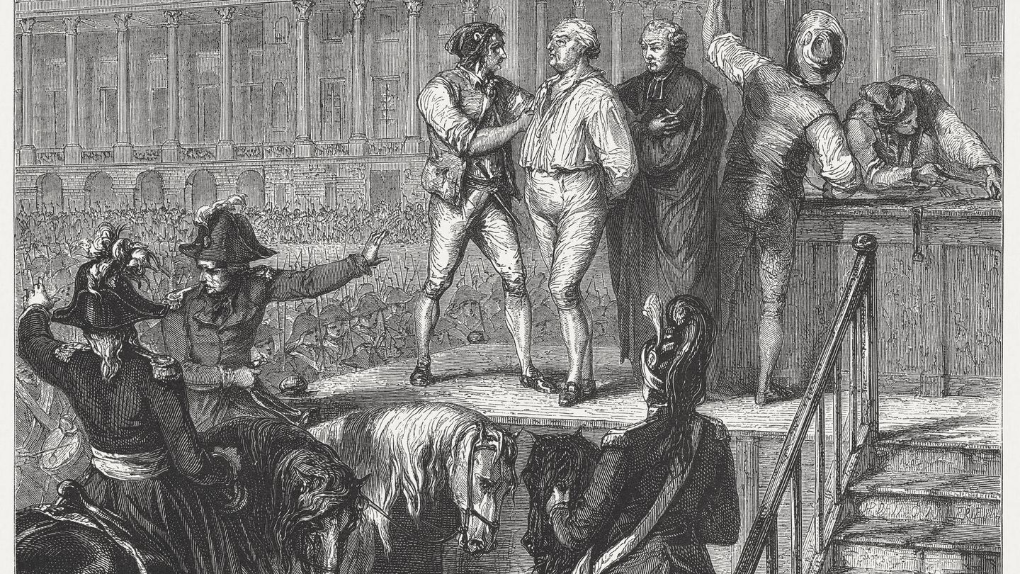 The execution of French king Louis XVI (1754 - 1793) during the French Revolution. Wood engraving, published in 1871.
