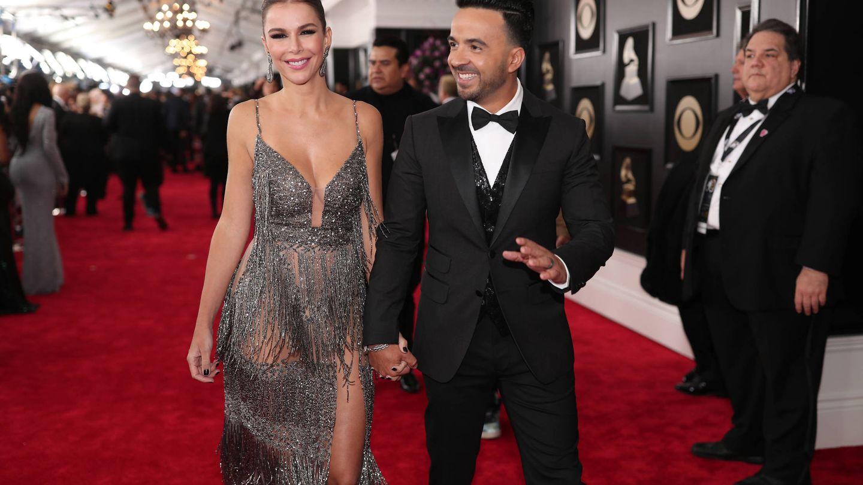 Luis Fonsi con su esposa, Águeda López, en el Madison Square Garden. (Getty)