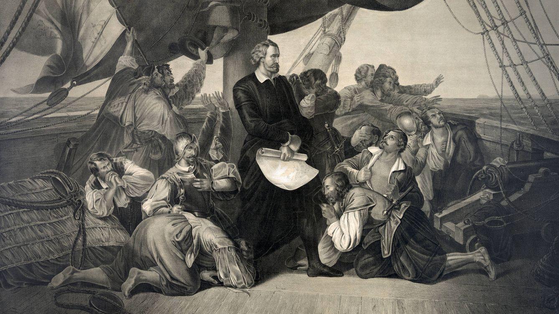 Foto: Ilustración de Cristóbal Colón de pie entre su tripulación a bordo del Santa María. (iStock)