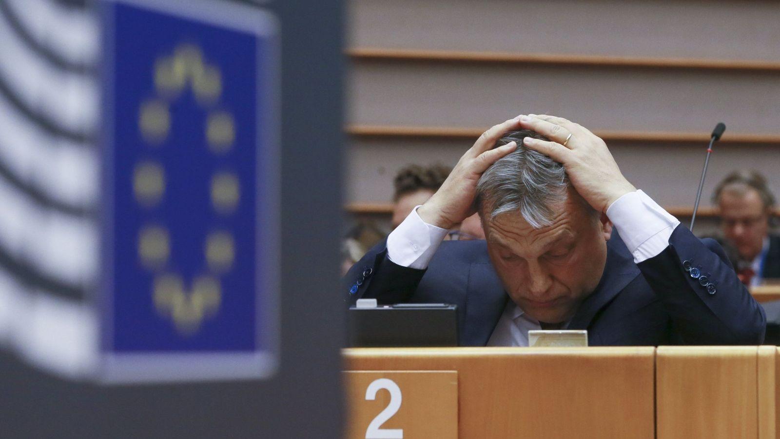 Foto: El primer ministro húngaro, Viktor Orbán, durante un debate del pleno de la Eurocámara sobre la situación en Hungría. (EFE)