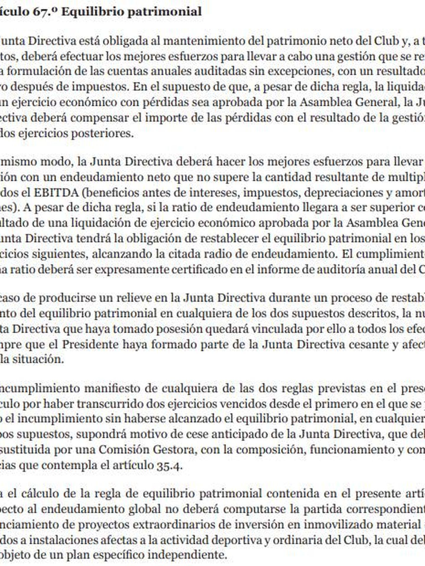 El artículo 67 de los Estatutos del FC Barcelona.