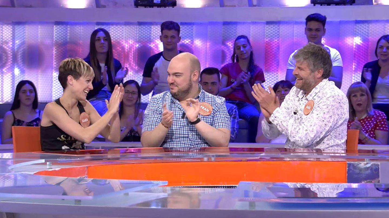 Sara Escudero, Fran González y Raúl Cimas, en 'Pasapalabra'. (Mediaset España)
