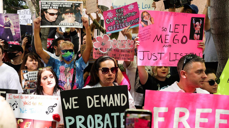 Manifestantes pro Britney Spears en Los Ángeles. (Getty)