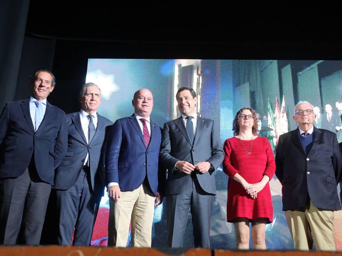 Foto: El presidente de la Junta de Andalucía, Juanma Moreno, ayer en Antequera, en la presentación del Puerto Seco.