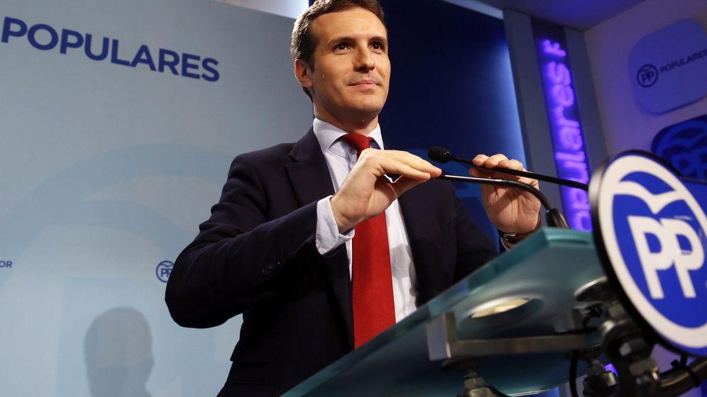Foto: Rueda de prensa de Pablo Casado. (EFE)