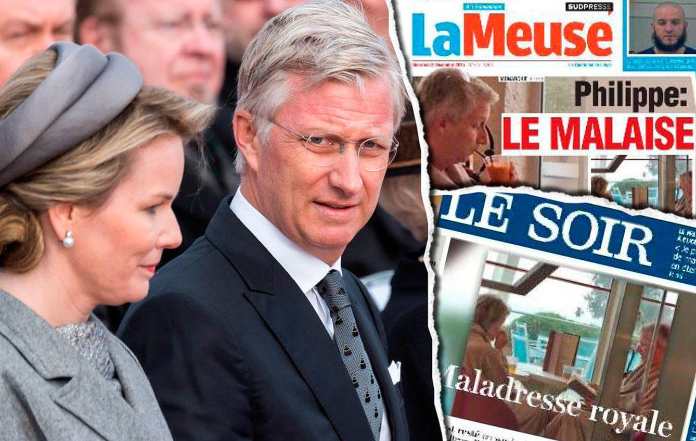 Foto: Los reyes de Bélgica y algunas portadas de los periódicos belgas