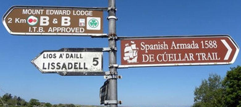 Foto: Carteles que indican hoy el camino que siguió el capitán De Cuéllas en Irlanda.