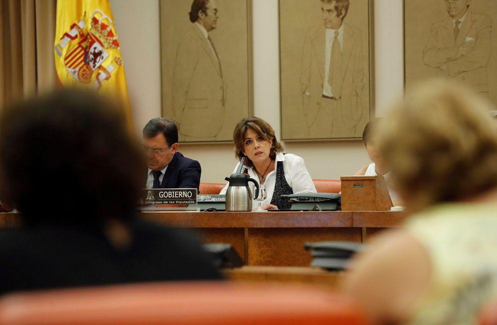 Foto: La ministra de Justicia, Dolores Delgado, este 11 de julio en el Congreso. (EFE)