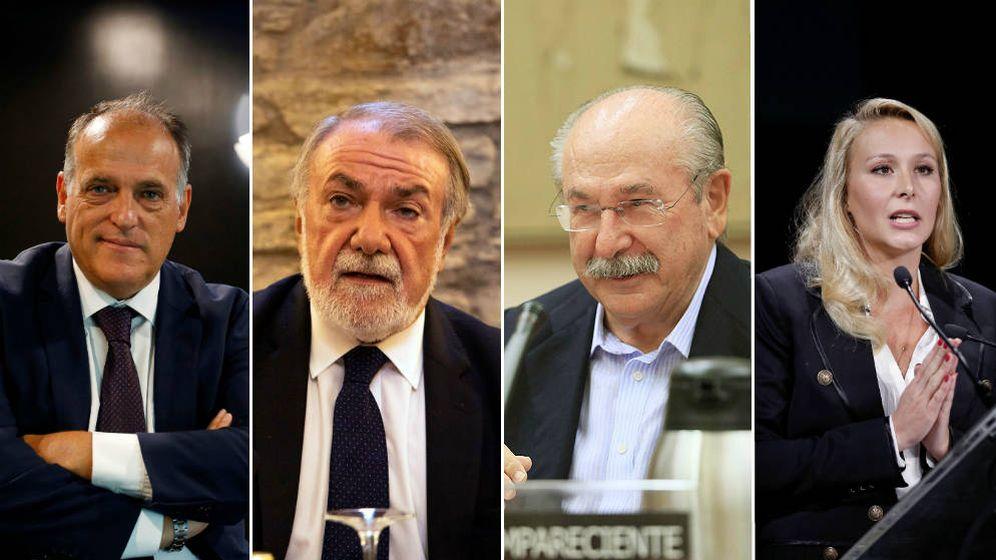 Foto: Javier Tebas, Jaime Mayor Oreja, Luís del Rivero Asensio y Marion Maréchal. (EC)