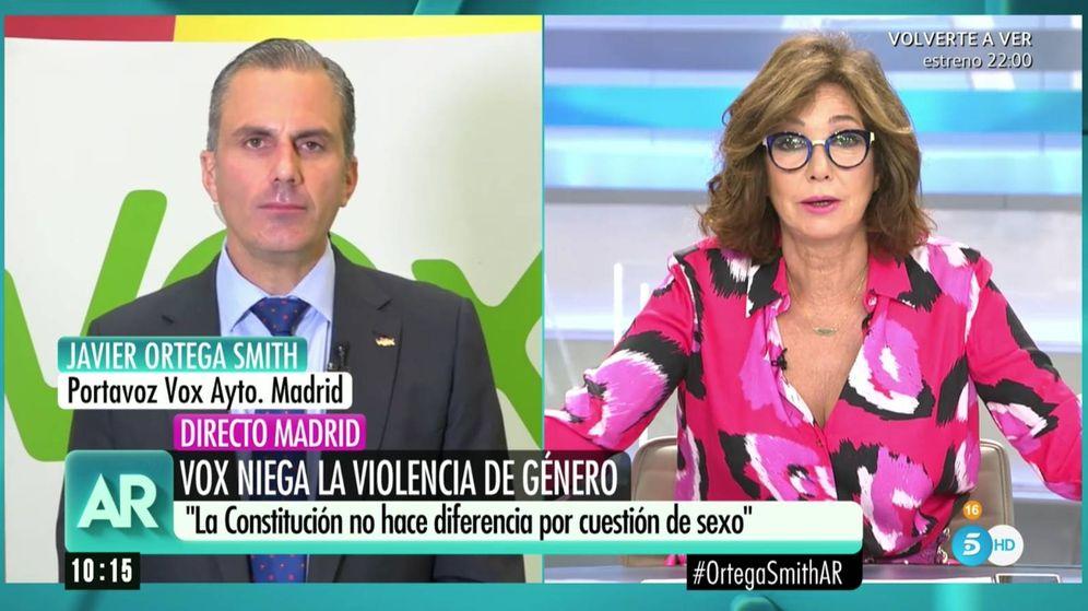 Foto: Ortega Smith, en conexión con Ana Rosa Quintana. (Mediaset)
