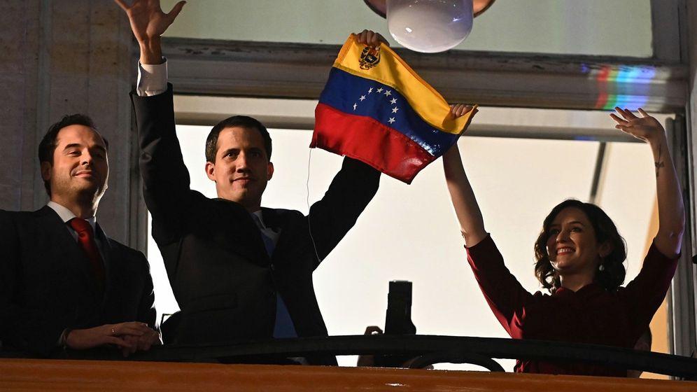Foto: Juan Guaidó en Madrid junto a Isabel Díaz Ayuso este sábado. (EFE)