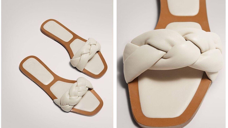 Las sandalias blancas de pala trenzada de Massimo Dutti (Cortesía)