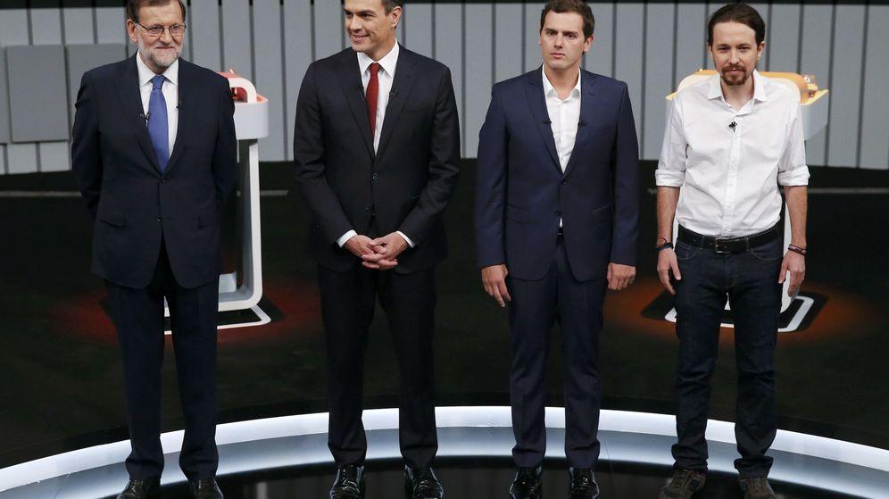 Foto: El debate a cuatro entre Mariano Rajoy, Pedro Sánchez, Albert Rivera y Pablo Iglesias, este lunes por la noche. (Reuters)