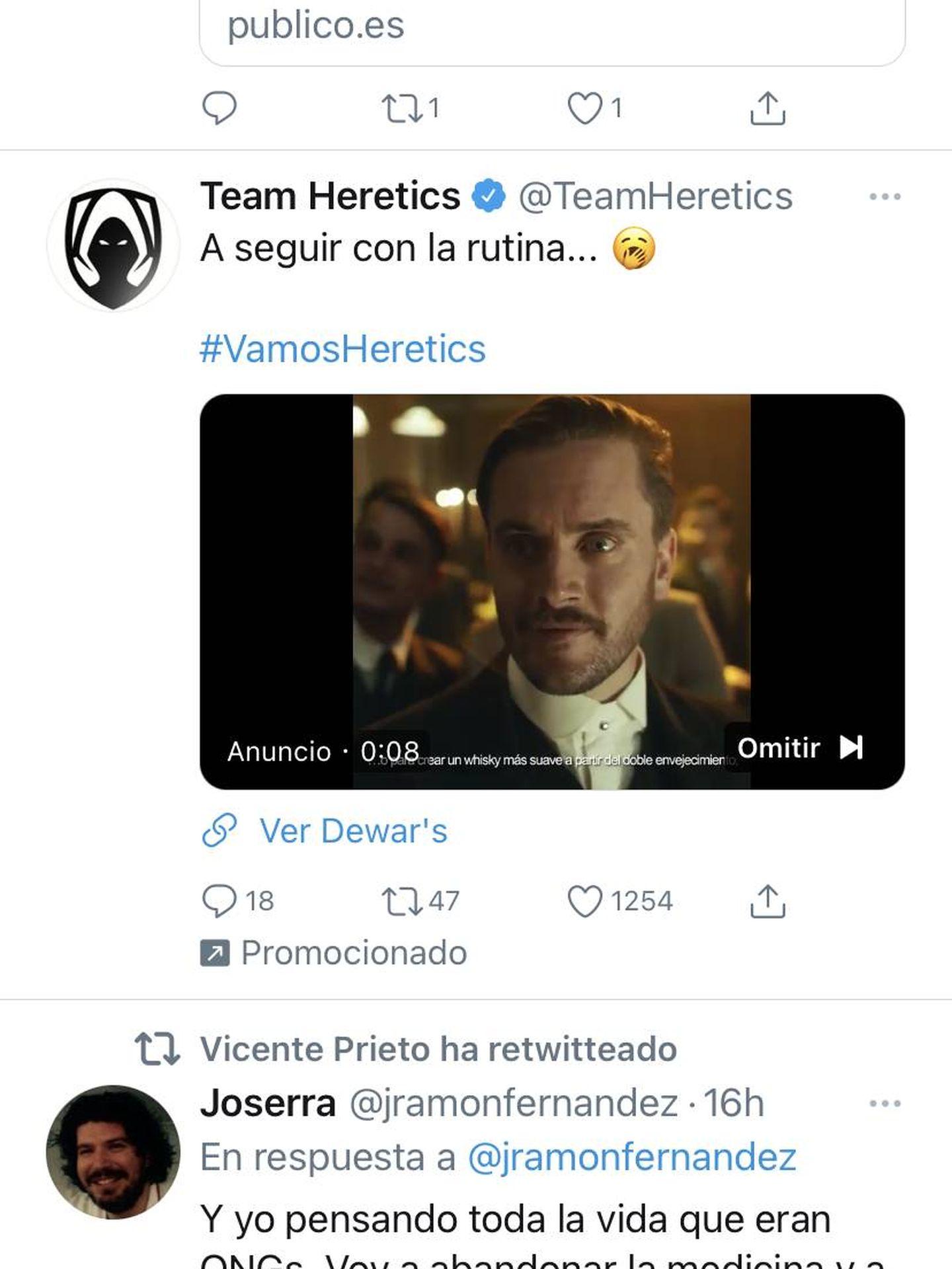 Tuit del club de 'e-sports' Team Heretics, promocionado por Dewars.