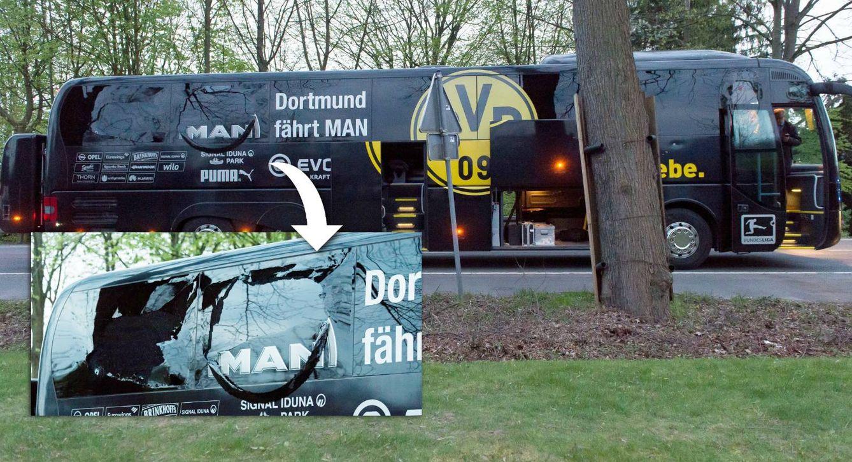 Foto: El autobús del Borussia Dortmun tras las explosiones. Al ampliar la imagen, pueden verse los daños producidos. (Reuters)