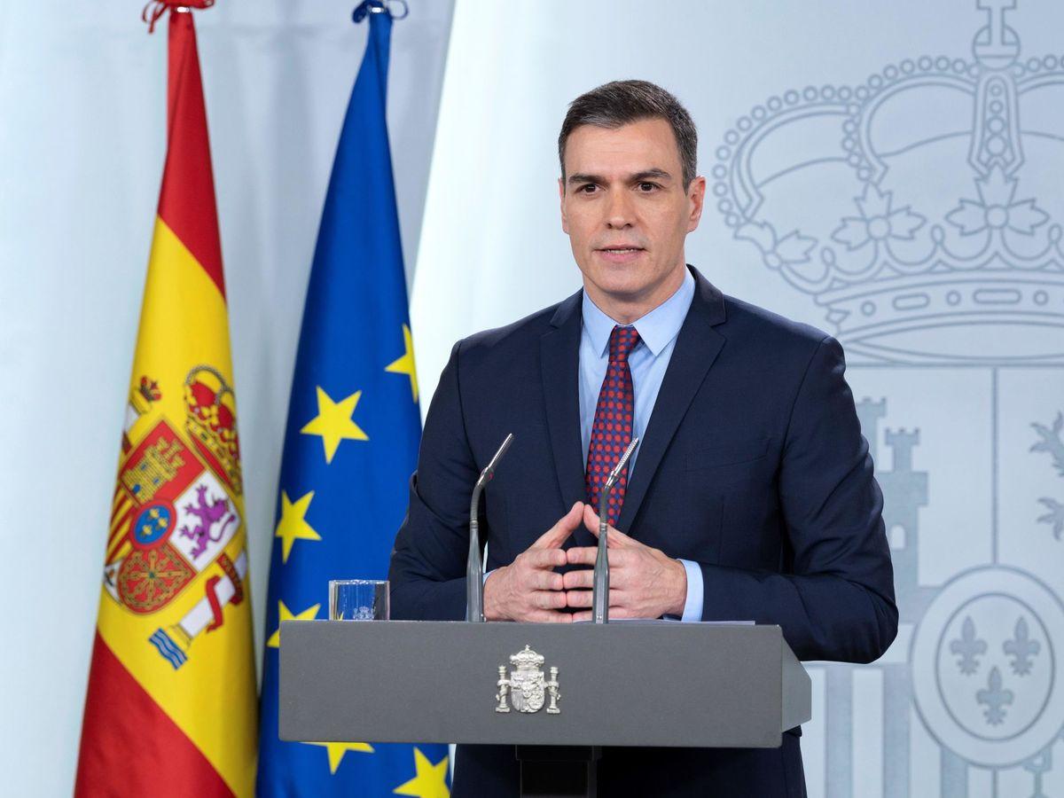 Foto: Pedro Sánchez, durante su comparecencia en la Moncloa de este 12 de marzo. (Borja Puig   Moncloa)