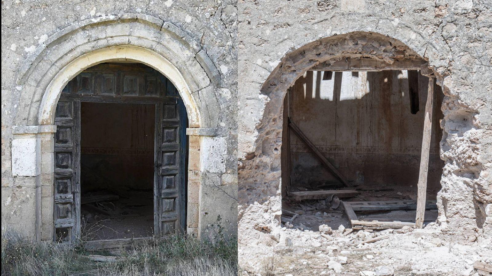 Foto: Entrada de la iglesia de La Mercadera antes y después del expolio.