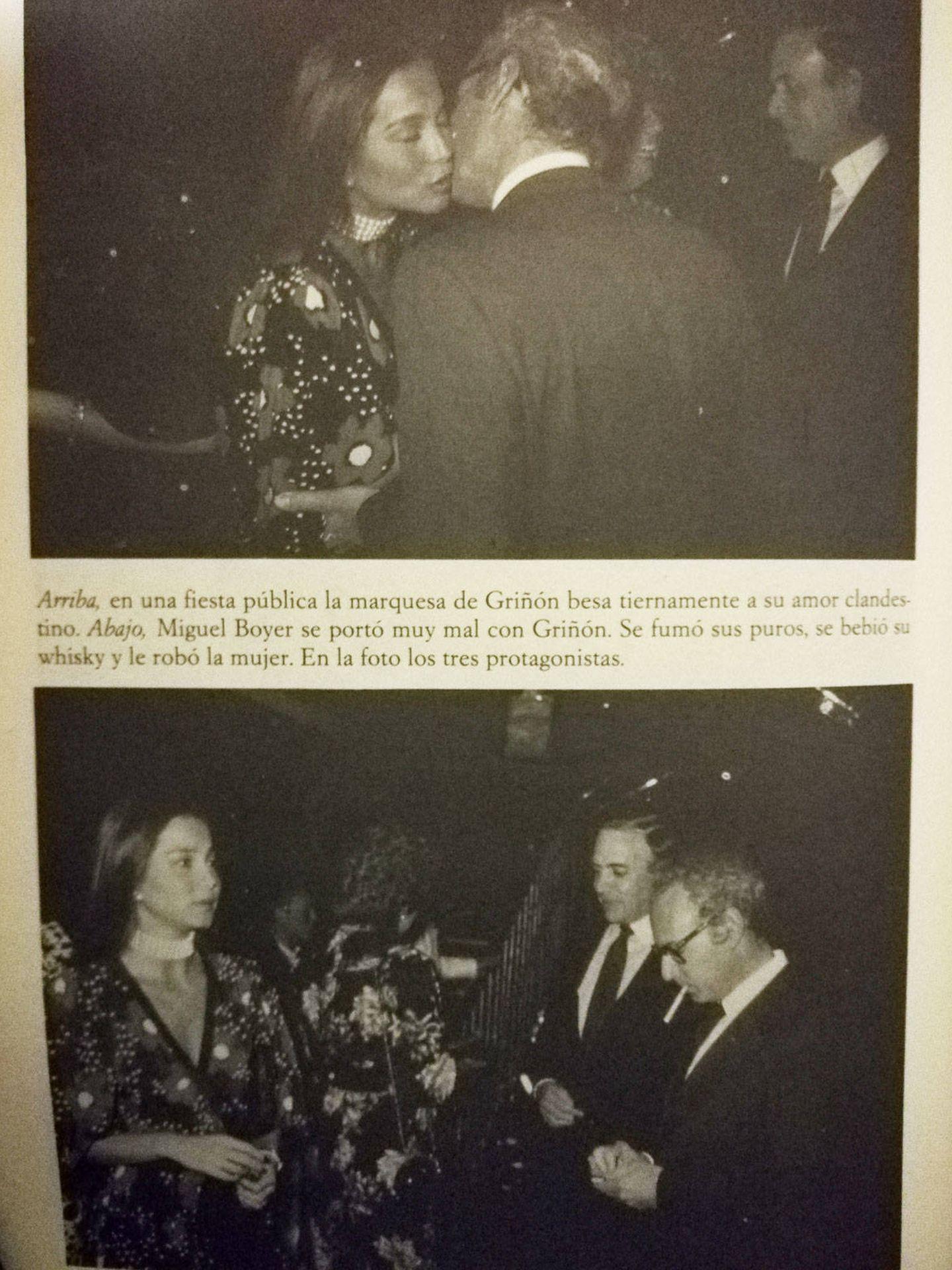 Isabel, besando a Boyer. ('Isabel Preysler,  reina de corazones'. Ediciones B)