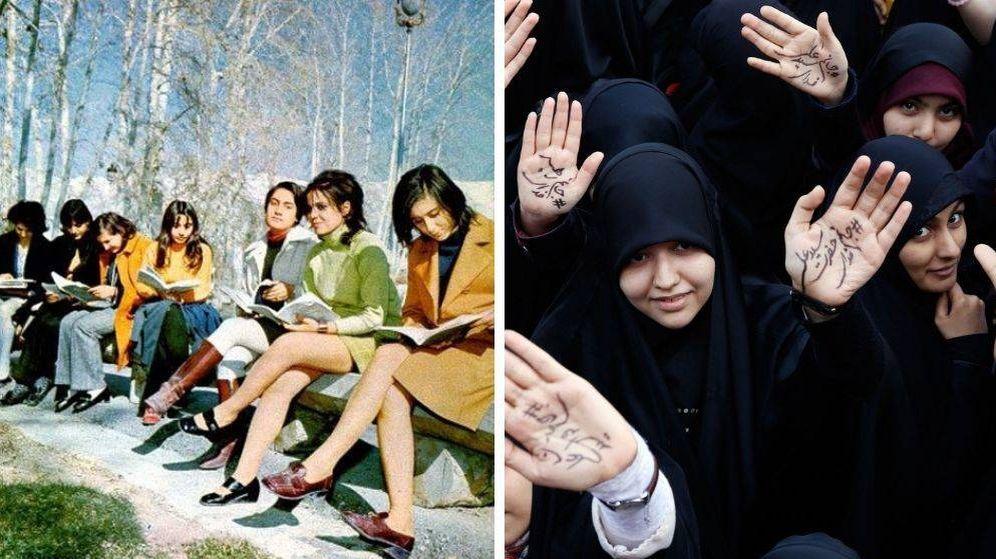 Foto: A la izquierda, estudiantes iraníes en Teherán en 1971; a la derecha, una imagen de 2018 (Fouman/Reuters)
