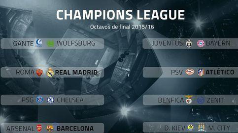 Real Madrid-Roma, Barça-Arsenal y Atletico-PSV, octavos de la Champions