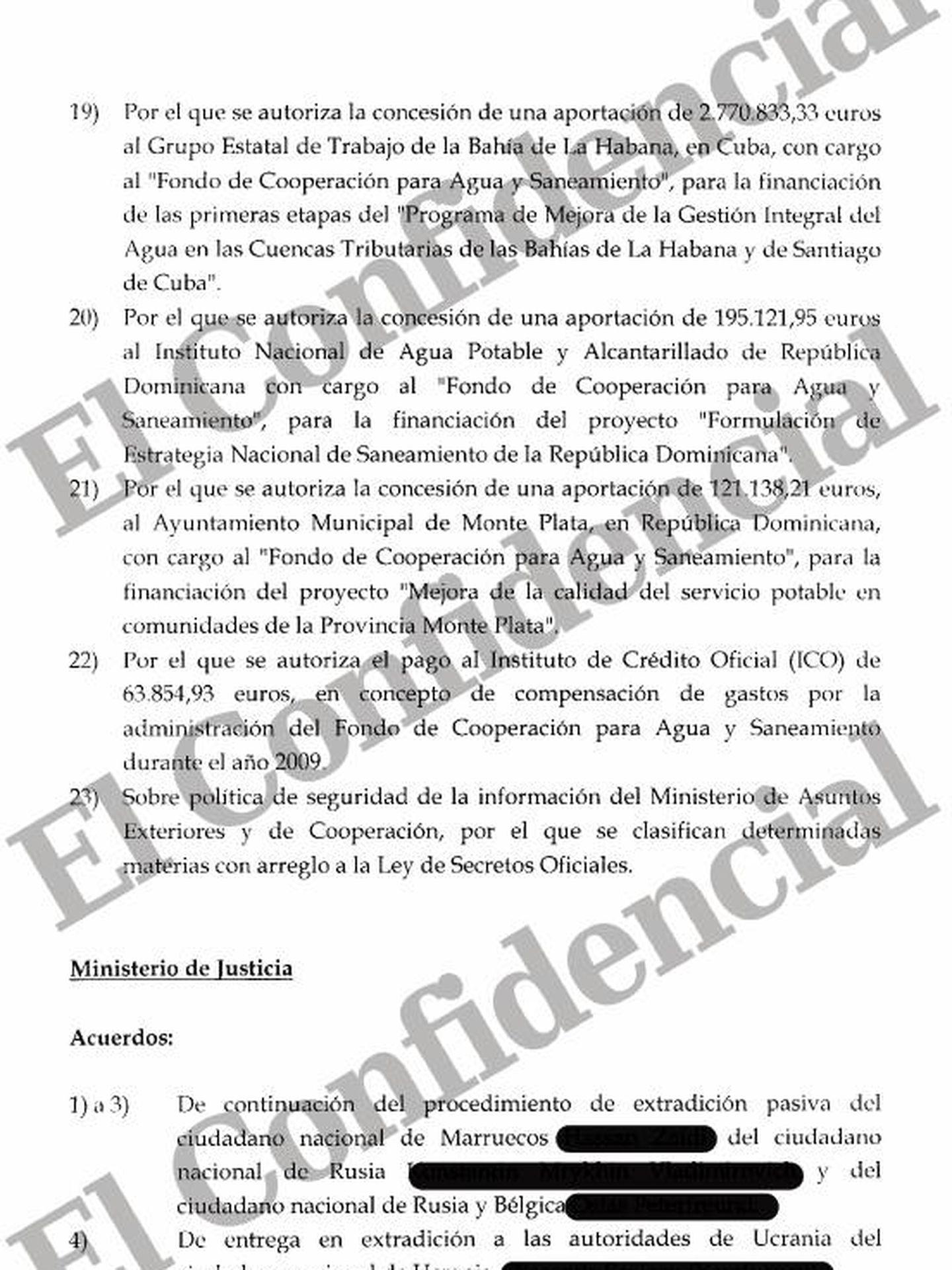 Acta del Consejo de Ministros con la clasificación de determinadas materias de Exteriores.