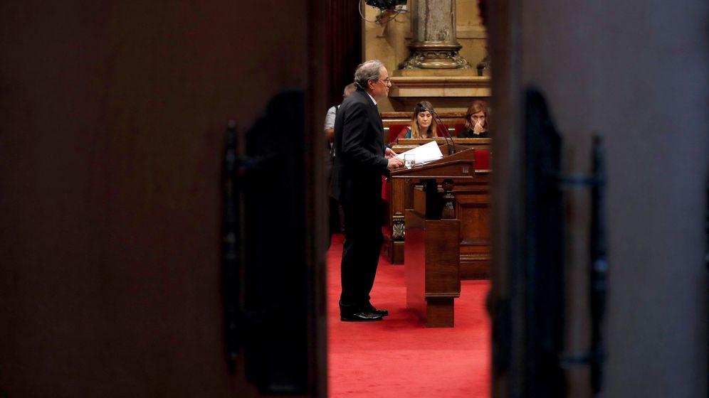 Foto: El presidente de la Generalitat, Quim Torra, durante su intervención en el pleno de Política Genera. (EFE)