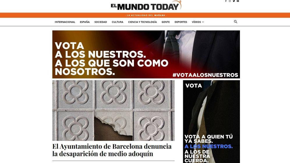 Foto: Portada de la web de El Mundo Today, donde se muestran dos ventanas de 'propaganda electoral'.