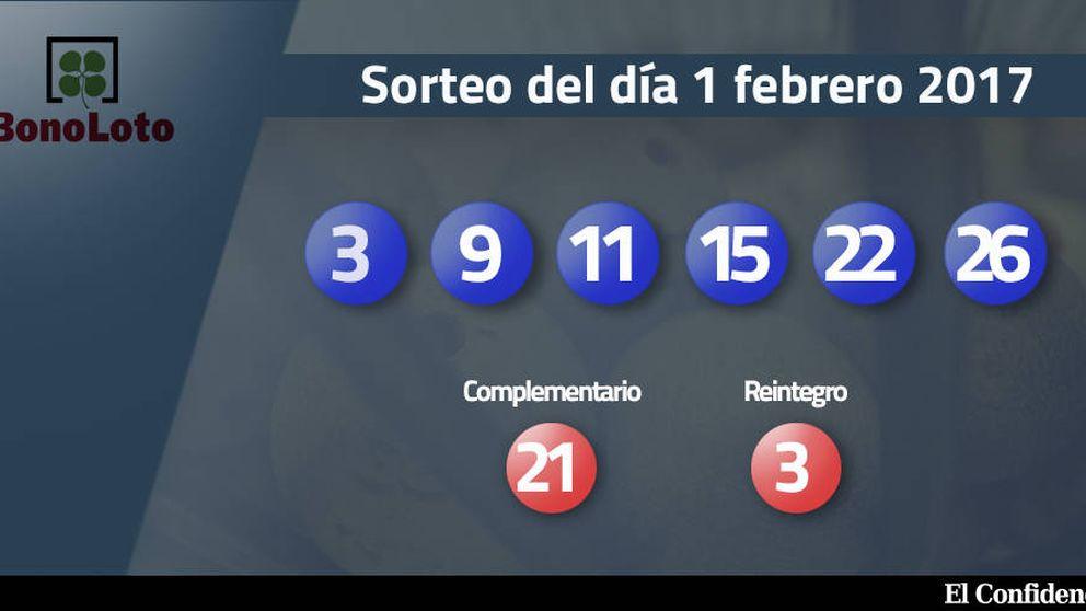 Resultados del sorteo de la Bonoloto del 1 febrero 2017: números 3, 9, 11, 15, 22, 26