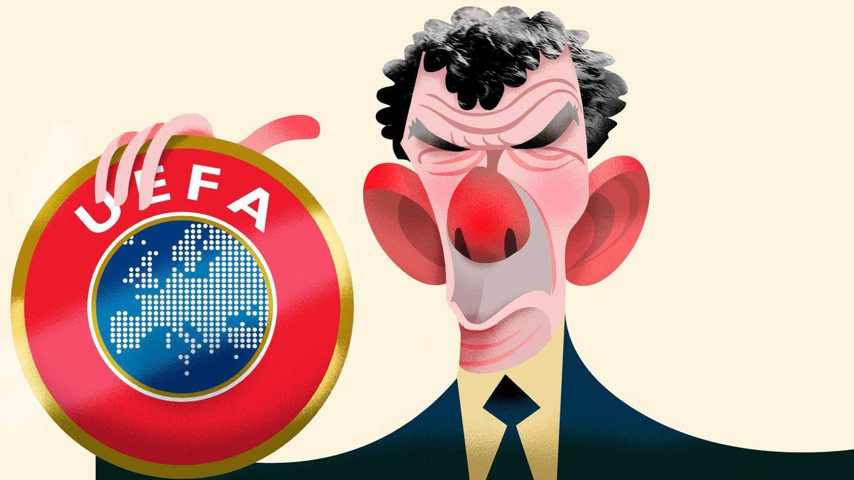 Foto: Ángel María Villar, presidente de la RFEF y vicepresidente de la UEFA. (Ilustración: Raúl Arias)