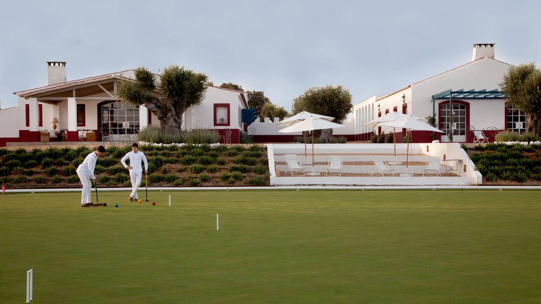 Vistas del campo de croquet de la Quinta da Chaminé en Portugal.