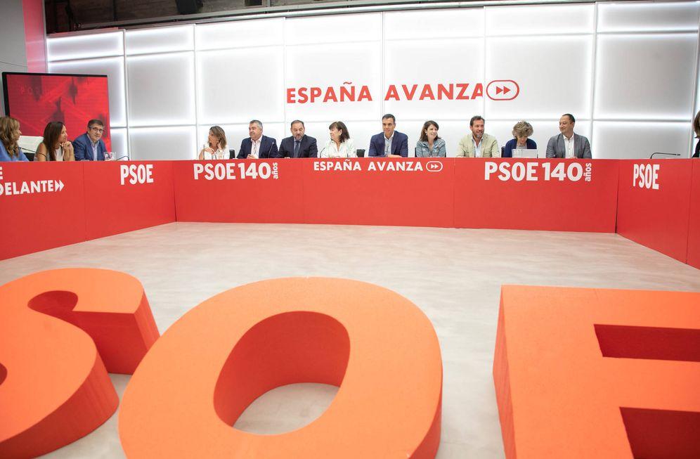 Foto: Pedro Sánchez, durante la reunión de la ejecutiva federal del PSOE de este 2 de septiembre, en Ferraz. (Eva Ercolanese | PSOE)