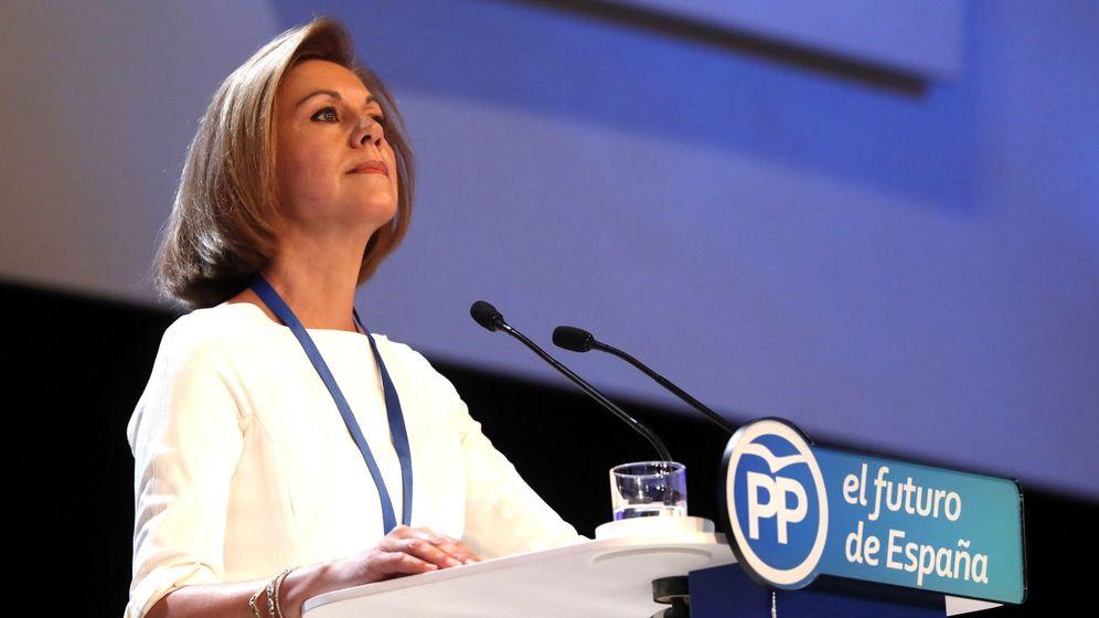 Foto: La secretaria general del Partido Popular, María Dolores de Cospedal, durante su intervención en la celebración del Congreso Nacional del Partido Popular, hoy en Madrid. (EFE)
