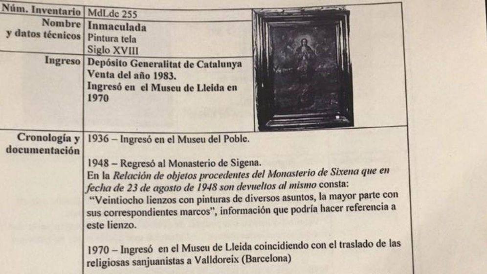 Foto: La Inmaculada es el lienzo que el Museo de Lleida asegura no encontrar
