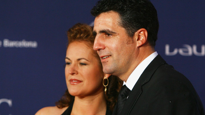 Miguel Indurain y Marisa López de Goicoechea, en los Premios Laureus. (Getty)