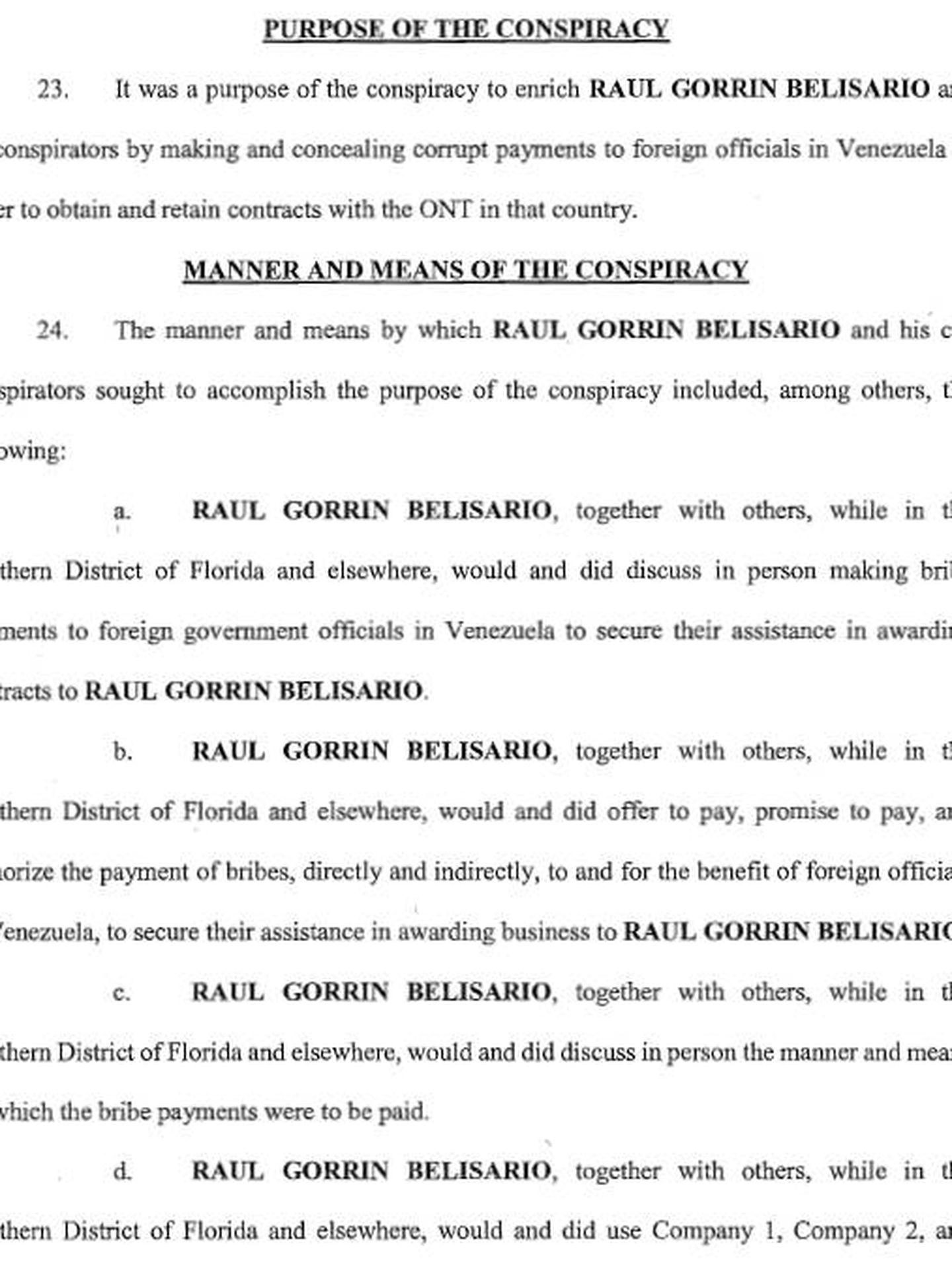 Extracto de uno de los escritos de acusación contra Raúl Gorrín de un tribunal de Florida, agosto de 2018.