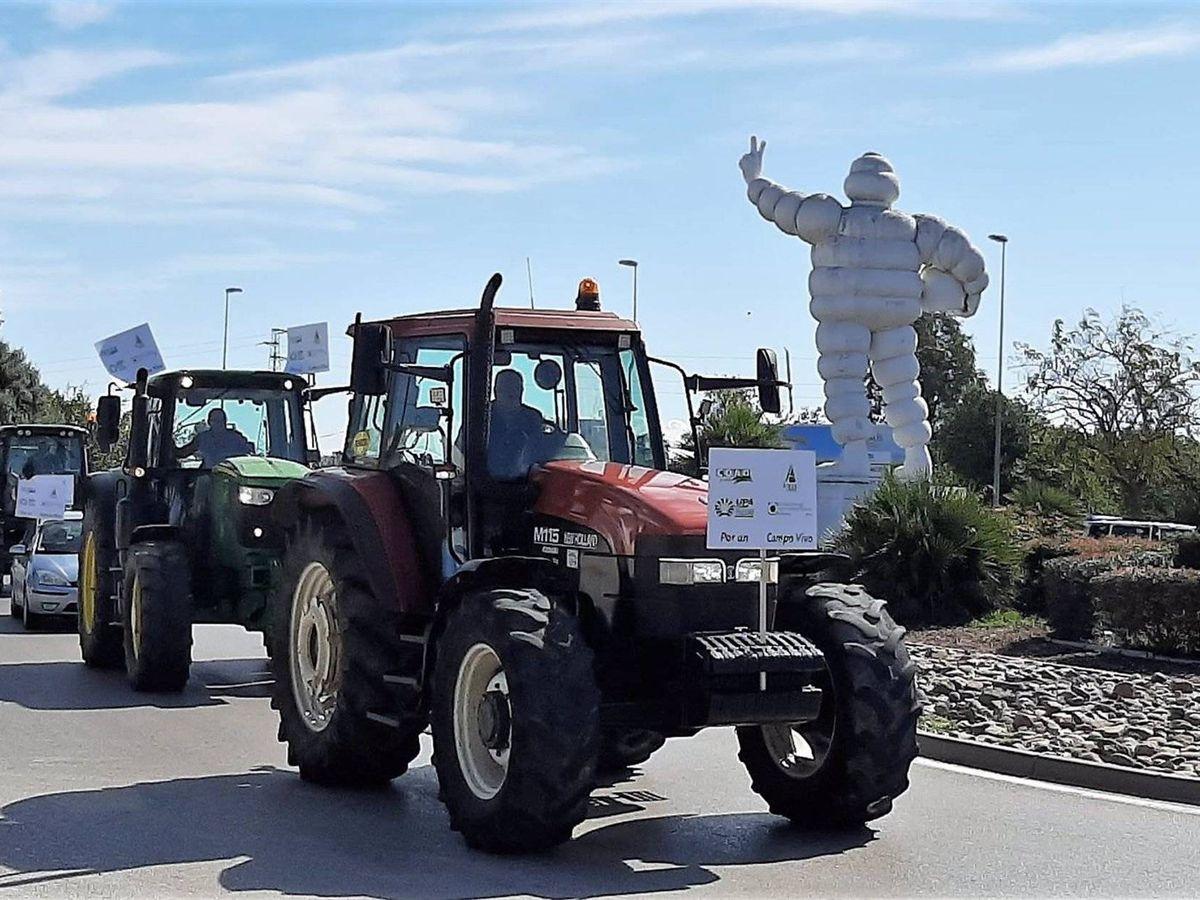 Foto: Un centenar de vehículos y tractores se manifiestan por Jerez contra el decreto de convergencia de la PAC
