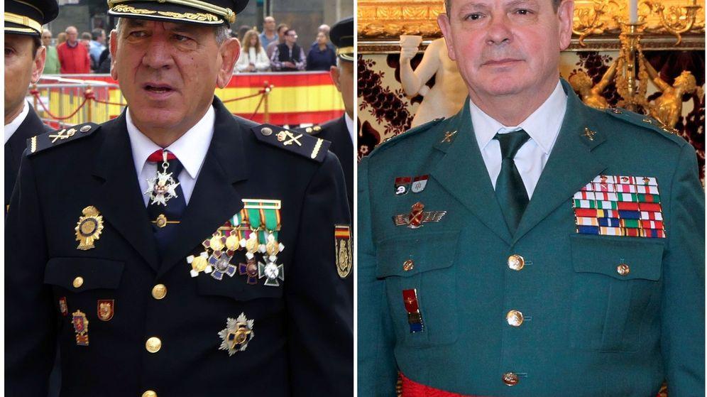 Foto: Fotografía de archivo del hasta ahora comisario principal de la Policía Nacional, José Ángel González Jiménez(i), y el teniente general Laurentino Ceña. (EFE)