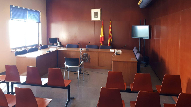 Una sala para simular juicios en la escuela judicial de Barcelona. R. M.