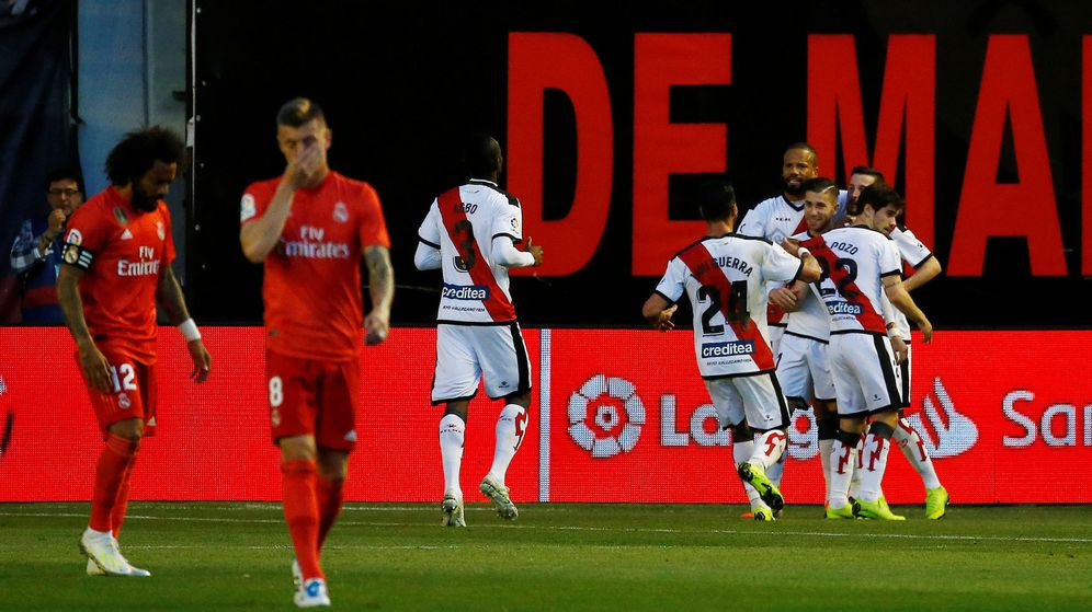 Foto: El Rayo celebra el único gol de la noche. (EFE)