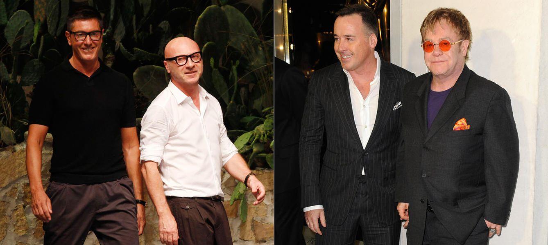 Foto: Los diseñadores Stefano Gabbana y Domenico Dolce, (Dolce&Gabbana), y Elton John y su marido, David Furnish (Gtres)