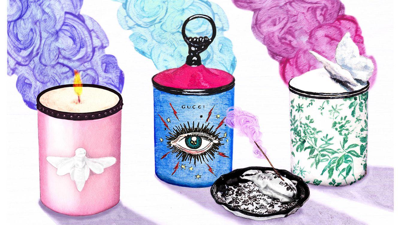 Foto: La colección de candeleros y difusores de Gucci, recreados en una ilustración de Alex Merry.