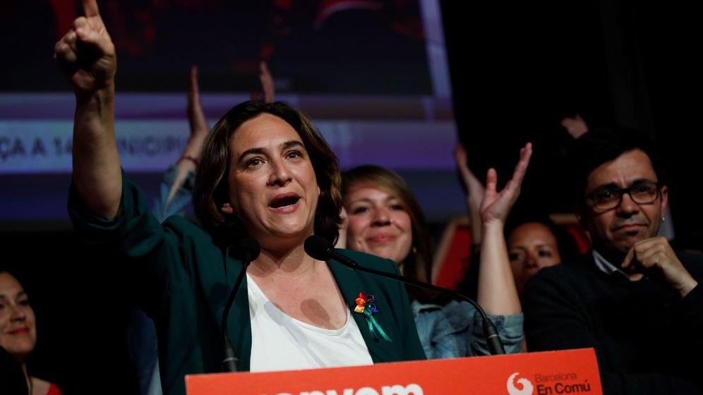 Foto: La alcaldesa de Barcelona y candidata a la reelección, Ada Colau, en la sede electoral de Barcelona en Comú durante la noche de las elecciones municipales. (EFE)