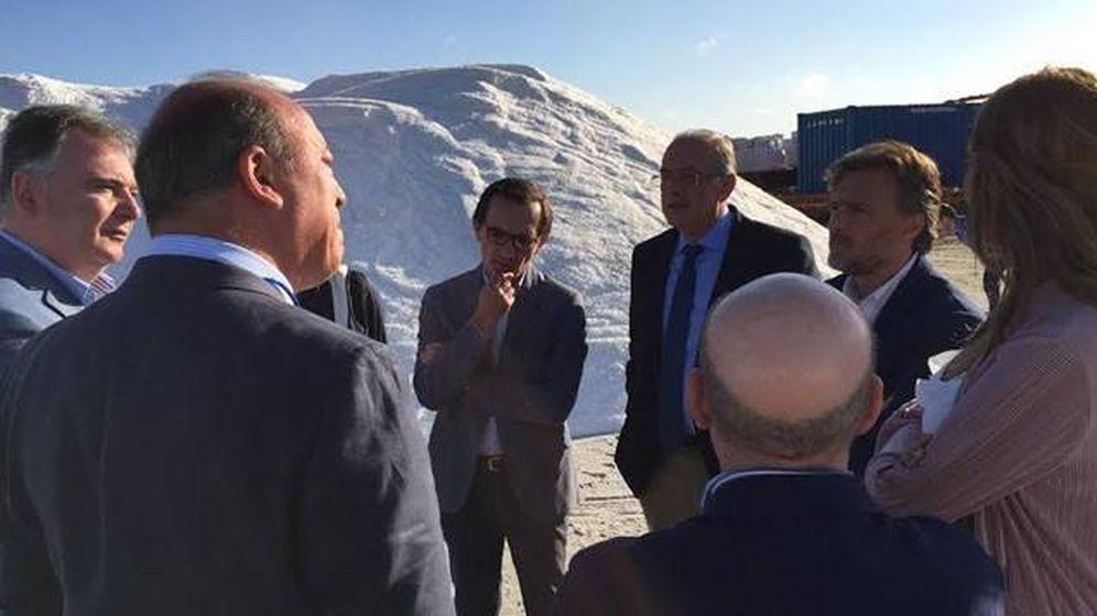 Foto: Directivos de Salinas del Odiel, con el consejero andaluz de Medio Ambiente, José Fiscal (en el centro, con barba). (EP)