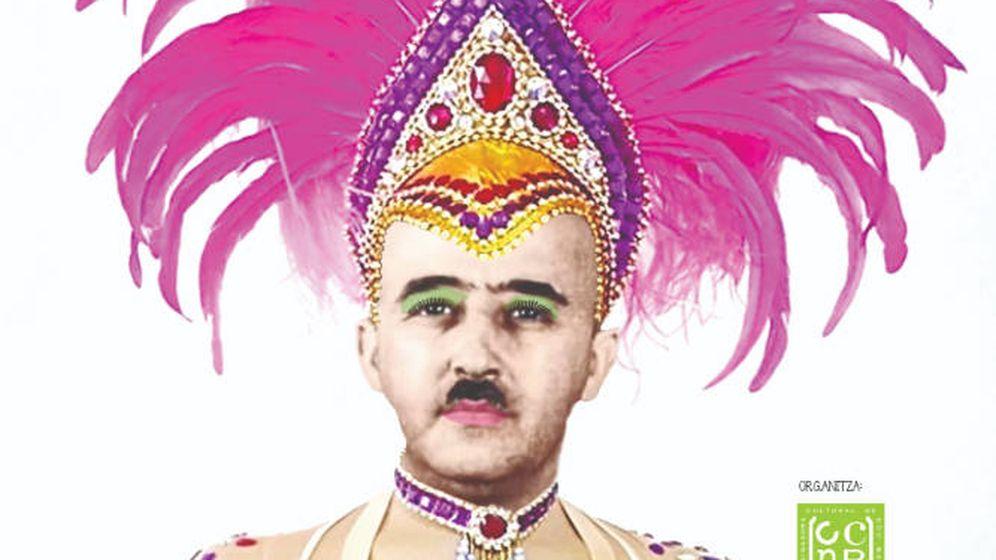 Foto: La imagen del dictador que protagoniza el cartel del carnaval (Foto: Coordinadora Cultural 9 Barris)